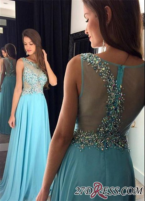 Sequined Blue Sleeveless Chiffon Long Zipper Crystal A-Line Prom Dresses 2020 AP0