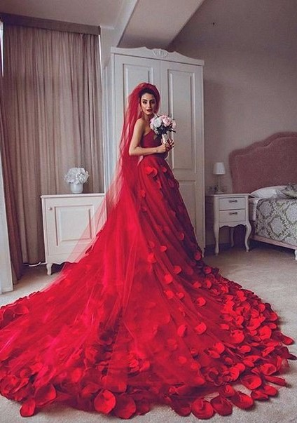 Newest Red Tulle Princess Wedding Dress 2020 Flowers Court Train