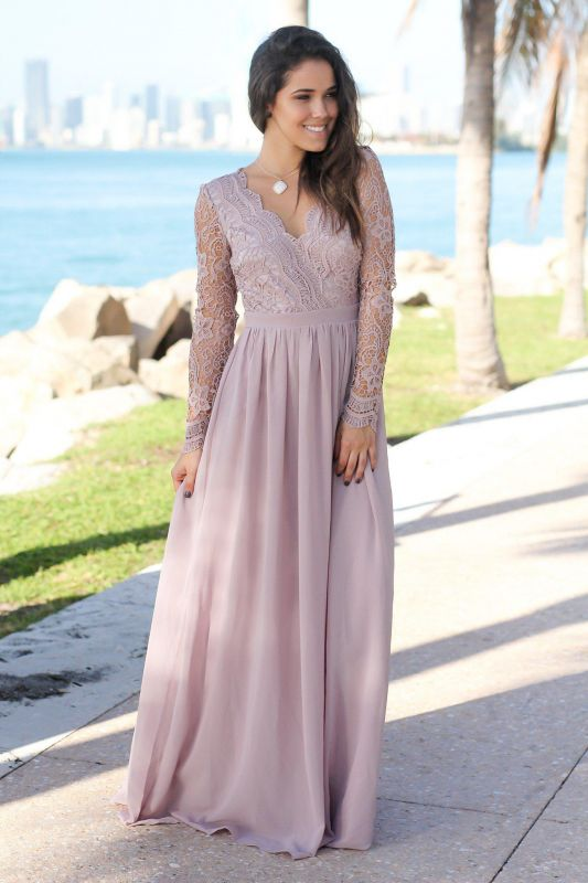Charming V-Neck Long Sleeves Lace Prom Dress   Long 2020 Chiffon Evening Gowns