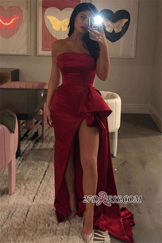 Burgundy Strapless Side-Slit Mermaid Long Prom Dress | Sexy Bateau Sleeveless Ruffle Prom Gown