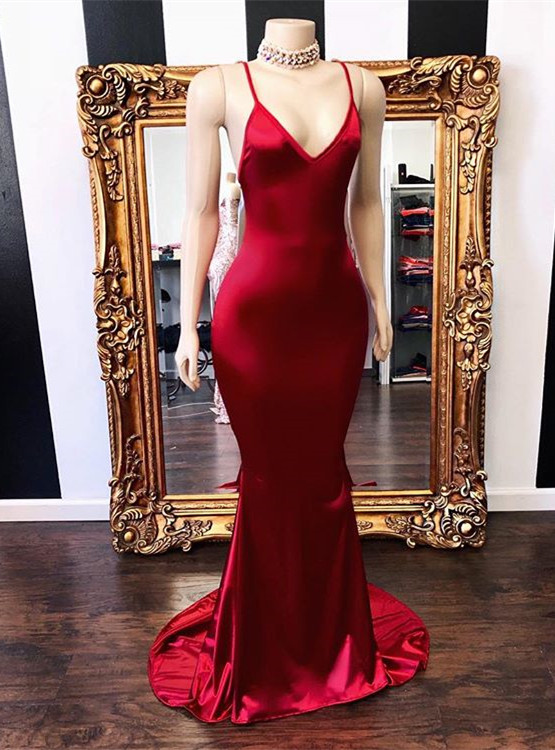 Elegant V-Neck Sleeveless Prom Dress | 2020 Mermaid Long Evening Gowns Online