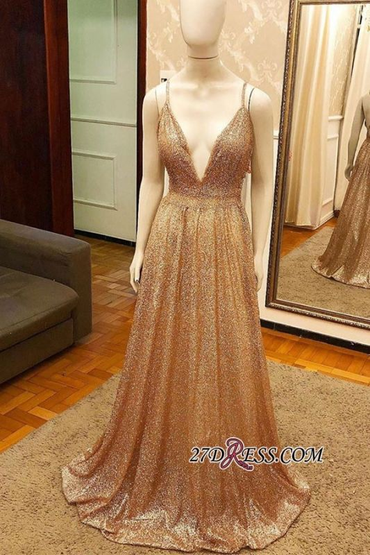 A-line Gold Luxury Sequin Spaghetti-strap Prom Dress