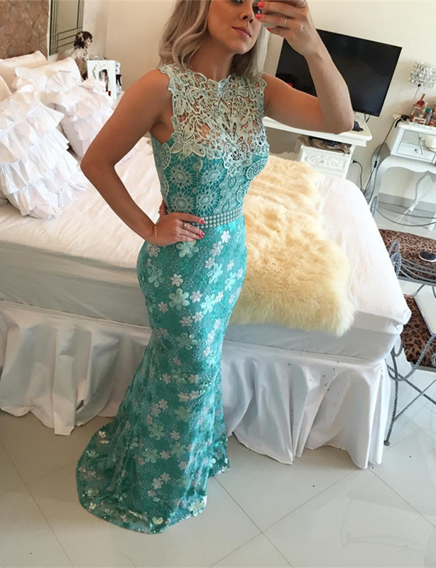Elegant Sleeveless Lace Pearls Prom Dresses 2020 Mermaid Long Party gown BT0