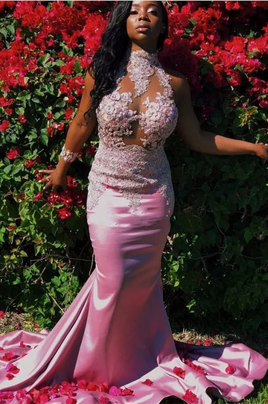 Pink High-Neck 2020 Prom Dress   Mermaid Lace Evening Gowns