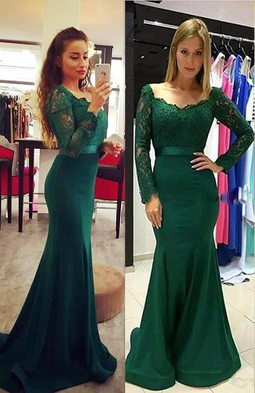 Elegant Long Sleeve Green 2020 Mermaid Lace Prom Dress On Sale