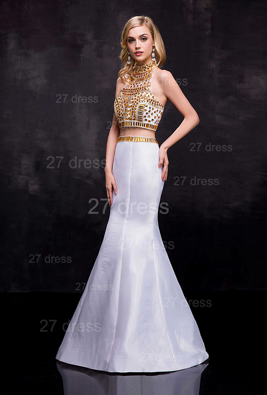 Gorgeous Two Piece Crystals Wedding Dress Sweep Train