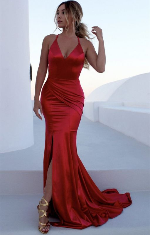 Sexy Red Halter Sleeveless Prom Dress With Split | Long Mermaid Criss Cross Strings Evening Gowns BC0541