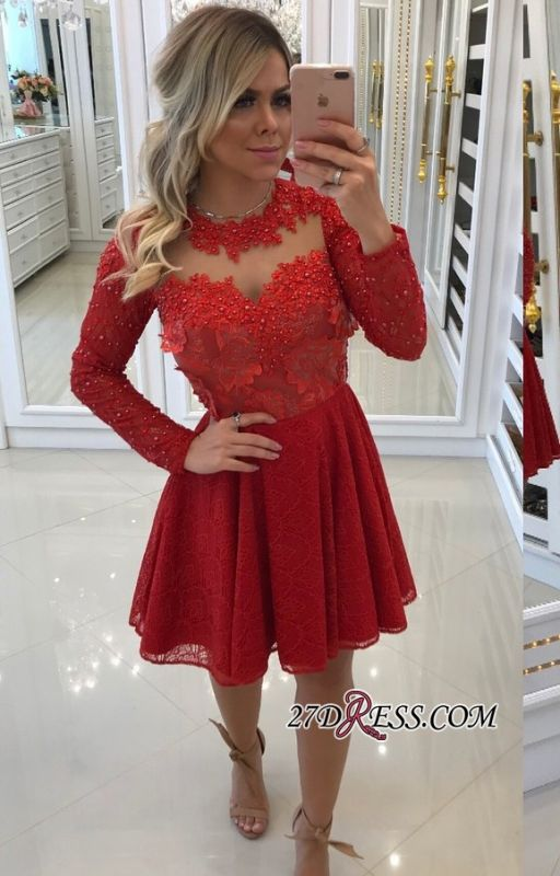Red lace short prom dress, 2020 long sleeve homecomng dress BA8896