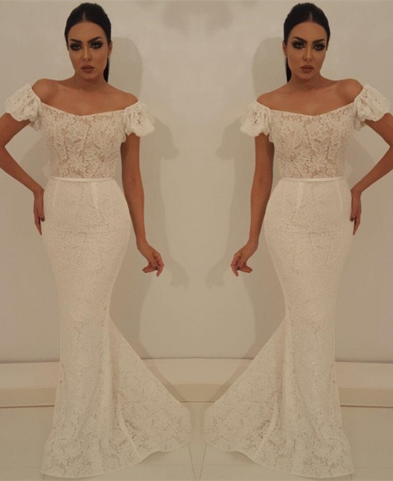Modest Off-the-Shoulder Bubble Sleeves Prom Dress | Lace Appliques Mermaid Evening Gowns On Sale