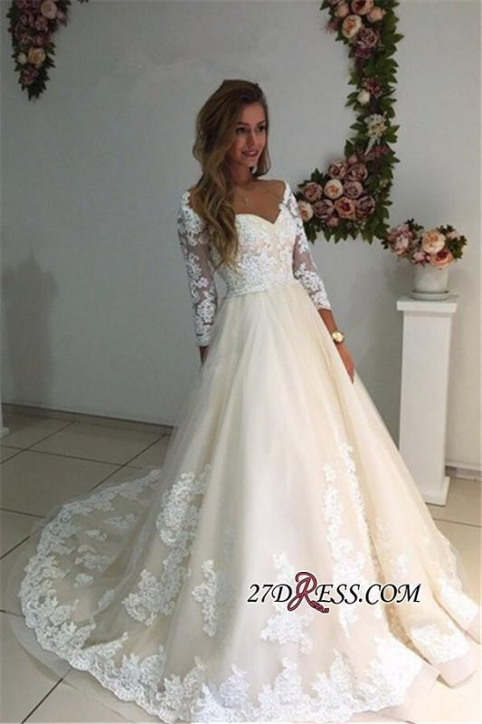 Backless Appliques Lace Long A-Line Sleeves Ivory Tulle Wedding Dresses