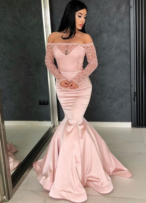 Glamorous Long Sleeve Lace Evening Dresses | 2020 Mermaid Prom Gowns On Sale BC0324
