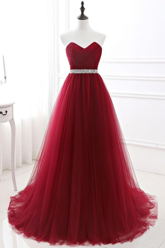 Elegant Burgundy Tulle Evening Dresses | 2020 Long Crystal Prom Gowns