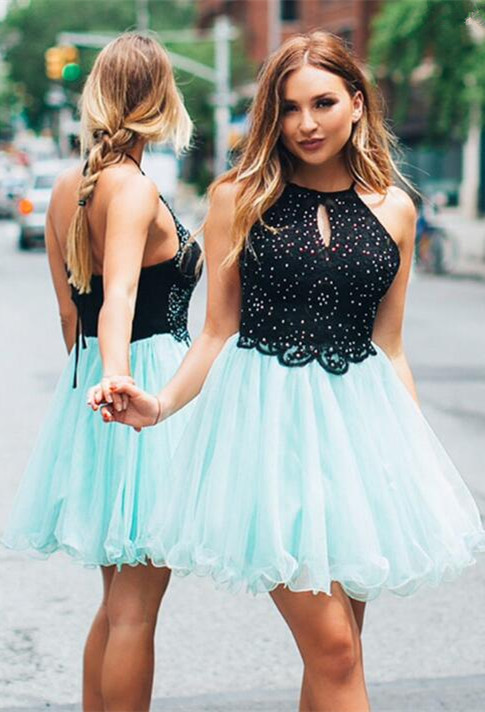 Lovely Halter Short Homecoming Dress | 2020 Tulle Party Dress