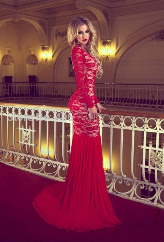 Sexy Red Long Sleeve Lace 2020 Prom Dresses Mermaid Long