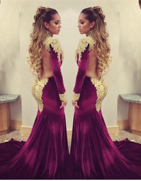 Stunning Long Sleeve Golden Appliques Evening Dresses 2020 Mermaid With Train