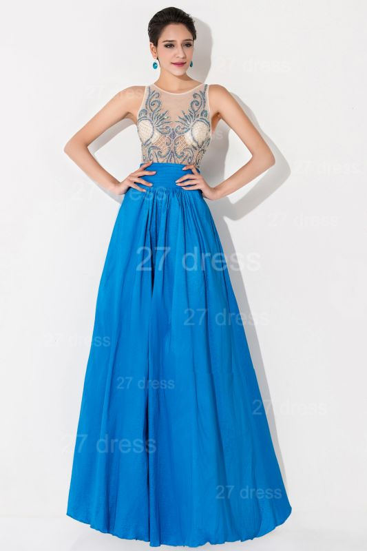 Modern Illusion A-line Evening Dress Beadings Sequins