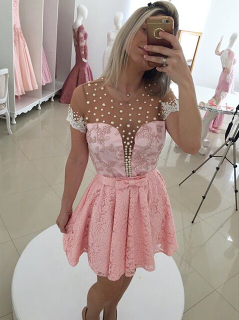 Sexy Short Sleeve Pink Cocktail Dress 2020 Lace Pearls BT0