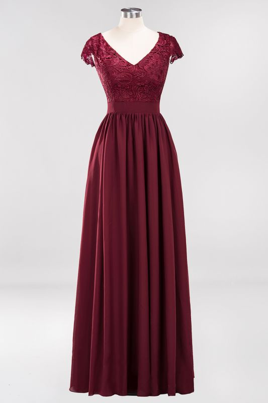 2020 Stunning Burgundy Cap Sleeves V Neck Prom Dress | Floor-Length Lace Long Evening Gown