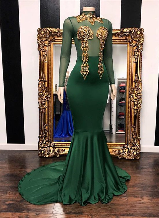 Gorgeous Green Long Sleeves High-Neck Prom Dress | 2020 Mermaid Evening Gowns With Appliques BC1850