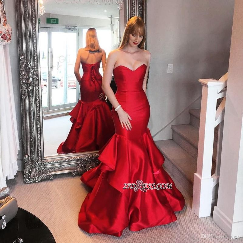 Lace-up Sweep-trian Red Sweetheart Mermaid Tired Evening Dress