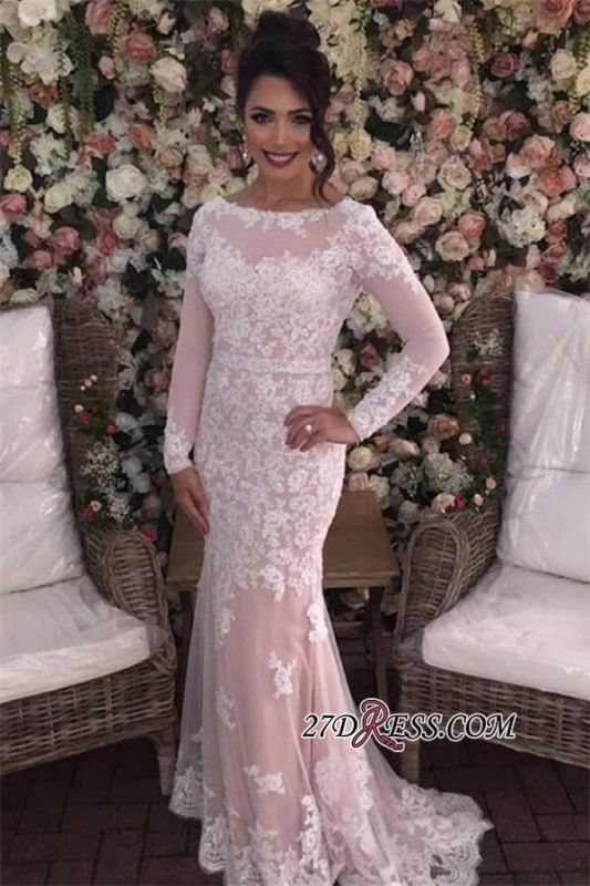 Mermaid Long-Sleeves Appliques Tulle Elegant Prom Dresses