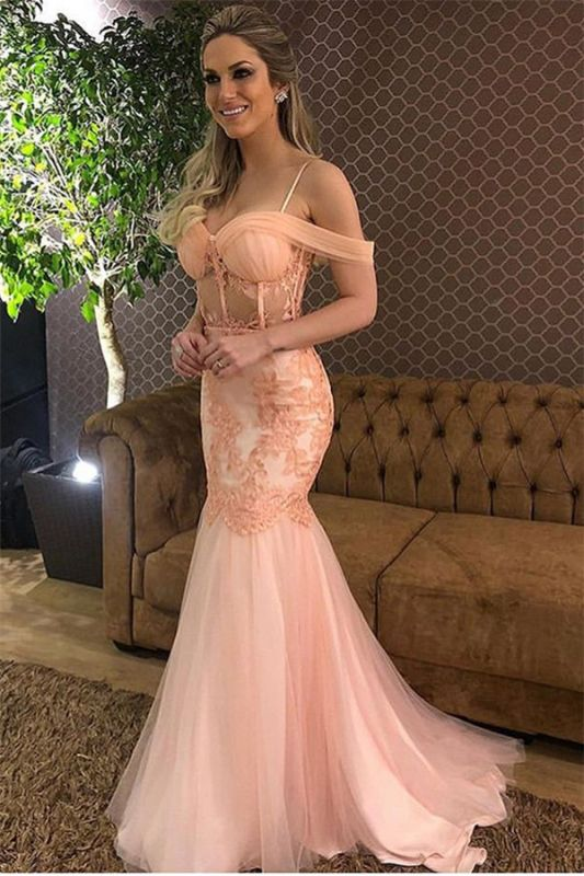 Pink Off-The-Shoulder Tulle Mermaid Prom Dress | Elegant Lace Applique Prom Gown
