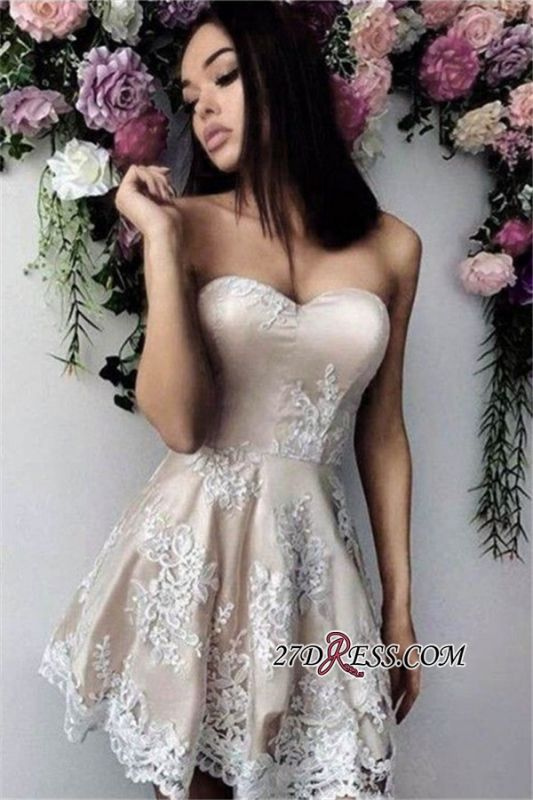 Short Simple Sweetheart A-line Appliques Homecoming Dress