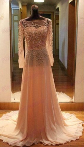 Gorgeous Long Sleeves Beadings Prom Dress 2020 Chiffon Long Party Gown