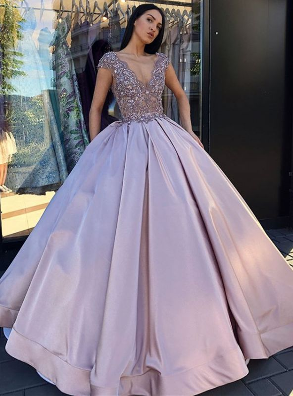 Glamorous Cap Sleeve Long Evening Dress | 2020 V-Neck Prom Gown With Appliques BC0248