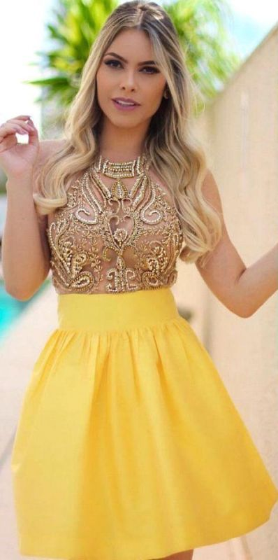 Charming Yellow Beadings Halter 2020 Short Homecoming Dress