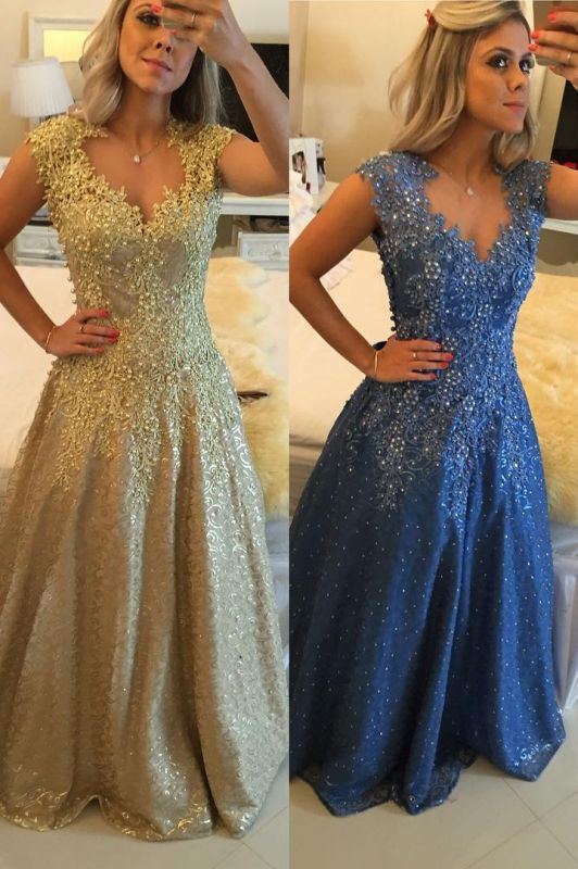 Glamorous Cap Sleeve Lace Appliques 2020 Prom Dresses Floor Length Formal Wear