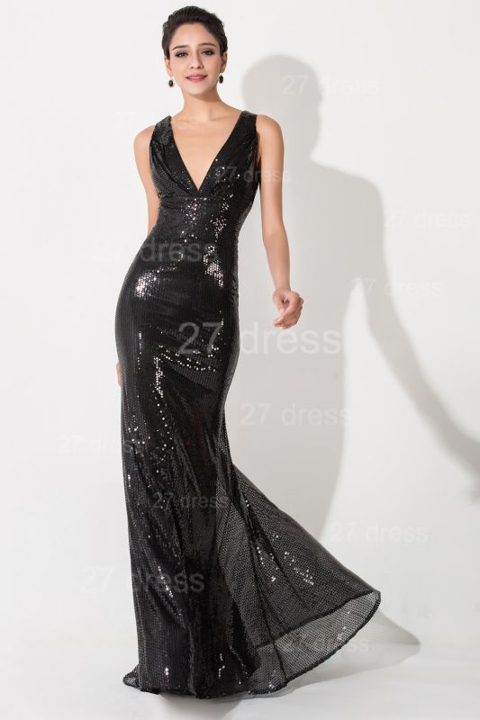 Sexy V-neck Mermaid Sequins Evening Dress Sweep Train