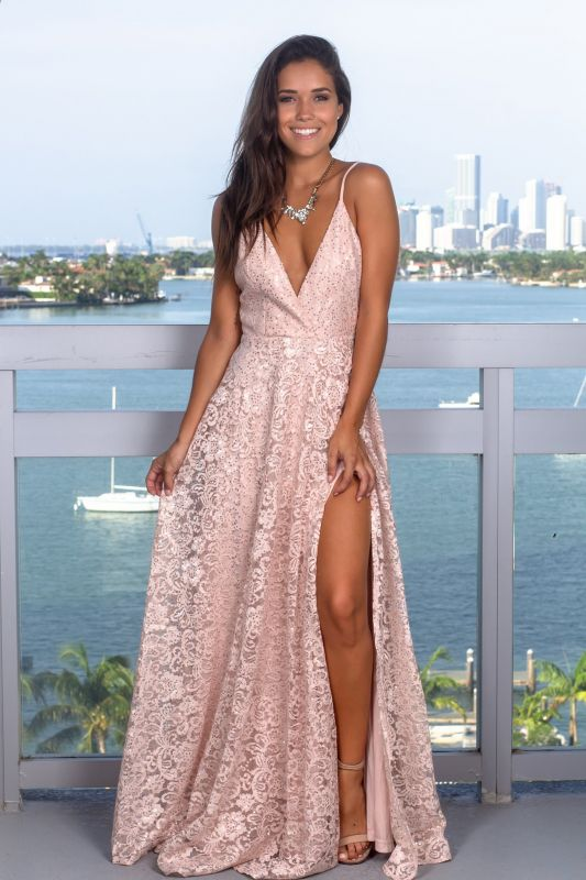 Elegant Deep V-Neck Sleeveless 2020 Prom Dress | Lace Long Sequins Evening Gowns With Split