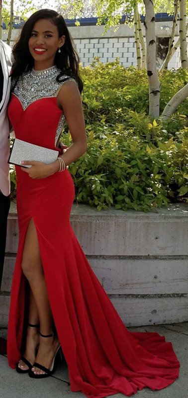 Sexy Red High-Neck Evening Dress 2020 Split Crystals BA3179