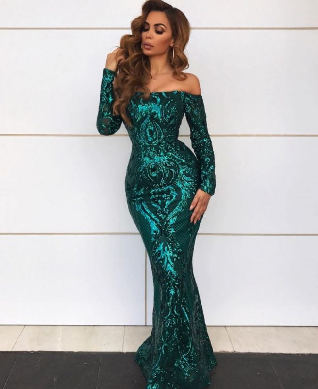 Gorgeous Off-the-Shoulder Long Sleeve Evening Gowns | Mermaid Sequin 2020 Prom Dress BC0703