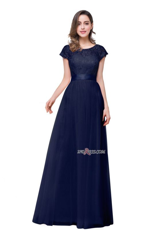 Bowknot Lace Open-Back A-Line Short-Sleeves Elegant Evening Dress
