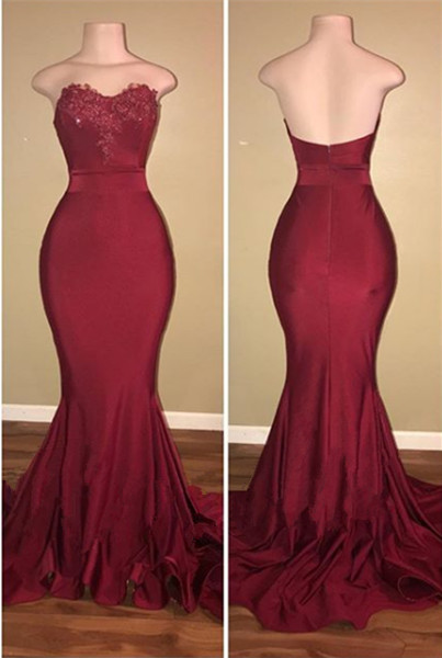 Elegant Sweetheart Maroon 2020 Prom Dress Mermaid With Lace BA9194