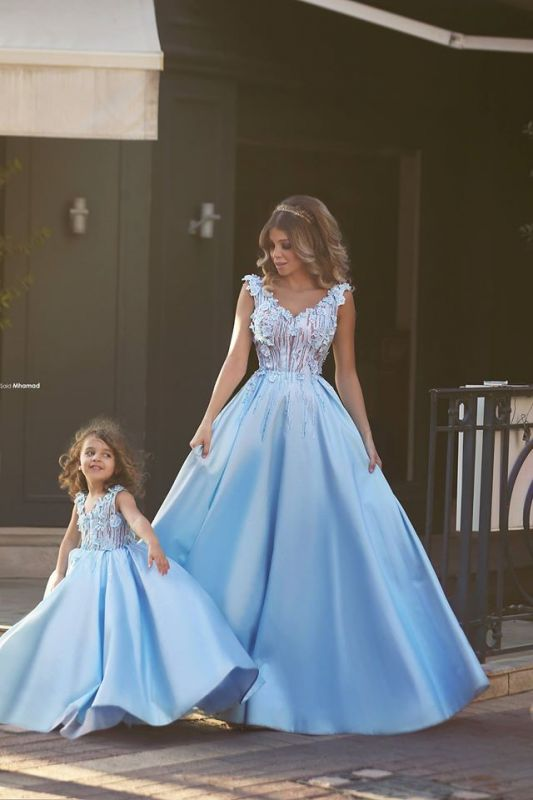 Newest Flowers Straps A-line Mother And Daughter Prom Dress 2020 Ball Gown BA4321