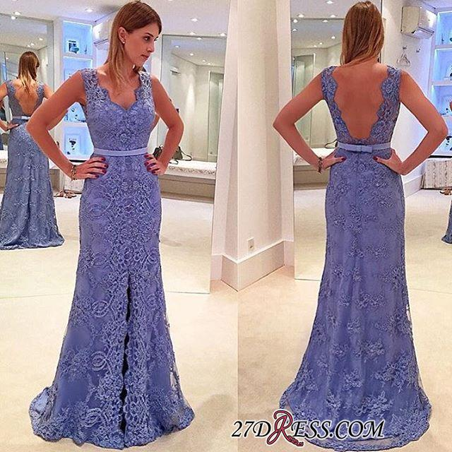 Delicate Front-Split Sleeveless A-line Straps Lace Prom Dress