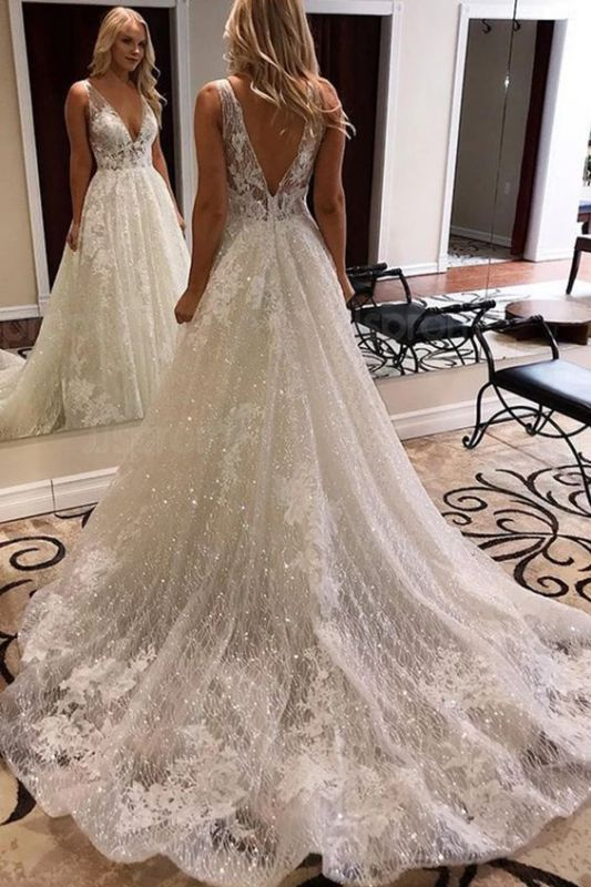 Sparking V-Neck Backless Wedding Dress A-line Lace Appliques Bridal Gowns