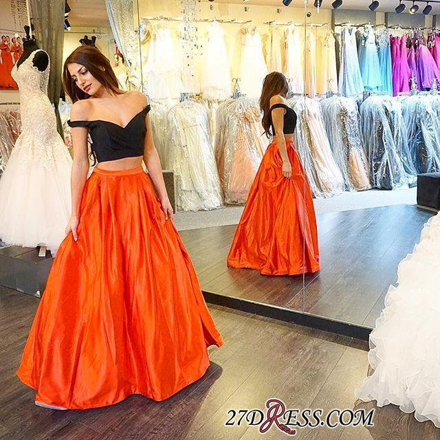 2020 Sexy Two-Piece Long A-line Off-the-shoulder Prom Dress