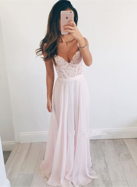 Elegant Sweetheart Lace 2020 Prom Dress Long Chiffon Party Gowns BA2665