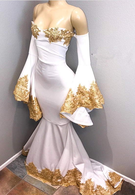 Long sleeve prom dress with gold appliques, mermaid 2020 evening dress BA8276