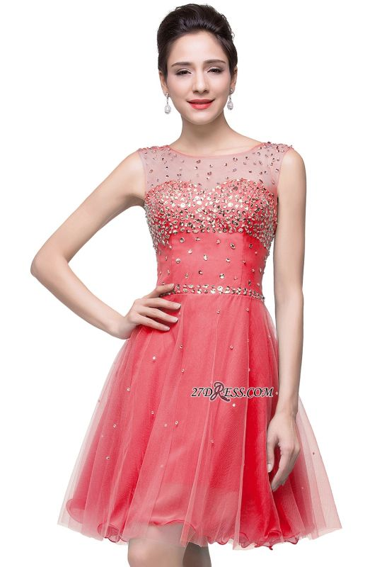 Short Crystal Sleeveless Open-Back Homecoming Dresses