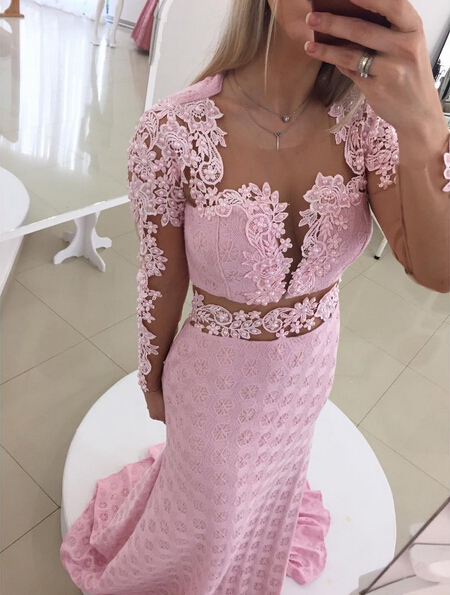 Glamorous Pink Mermaid Lace Appliques Prom Dress 2020 Open Back