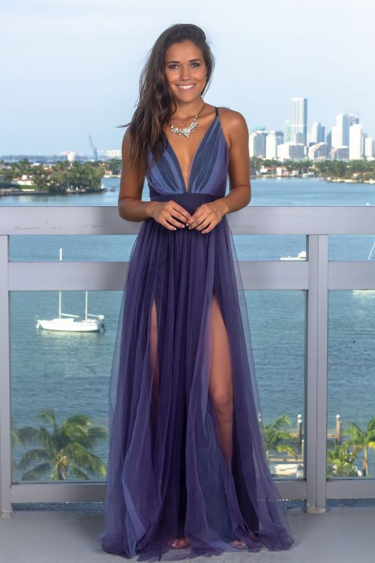 Sexy Sleeveless Deep V-Neck Evening Gowns   Criss Cross Strings Tulle Prom Dress With Zipper BC1370
