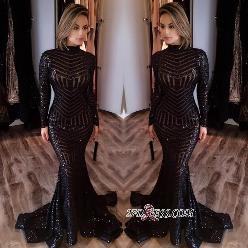 Sequined Black Mermaid High-Neck Sexy Long-Sleeves Prom Dress jj0085