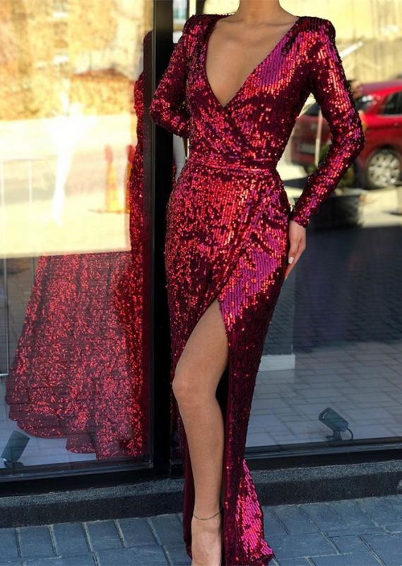 Sexy Red Sequins Long Sleeve Prom Dress | 2020 Slit Evening Gowns On Sale