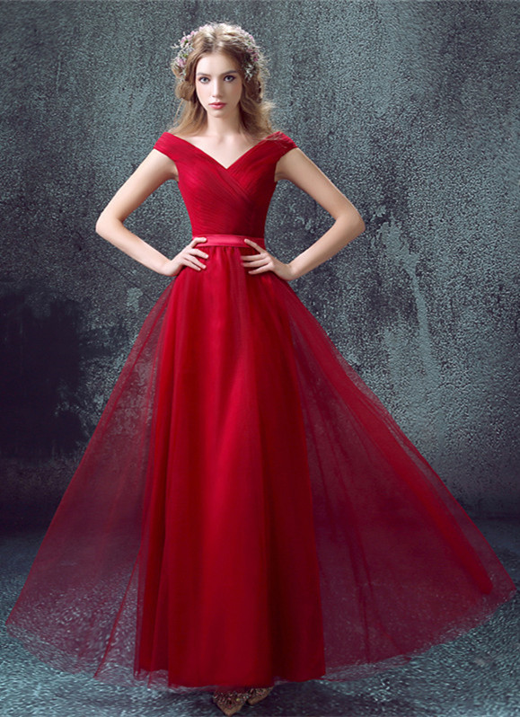 Newest Red Off-the-shoulder A-line Prom Dress 2020 Lace-up Floor-length