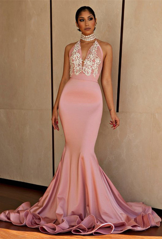Pink Mermaid 2020 Prom Dress   V-Neck Lace Evening Gowns BA8862
